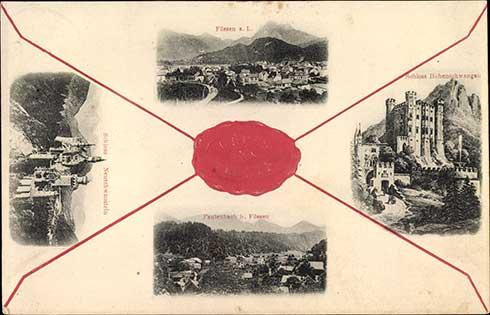 Postkarte von den Königsschlösser - Neuschwanstein und Hohenschwangau